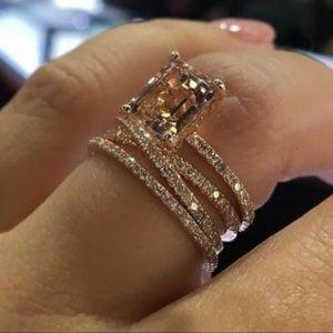 💍18K ROSE GOLD DIAMOND MORGANITE ETERNITY RING💍